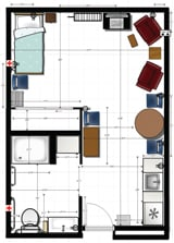 Studio Apartment Plan at Mennonite Village