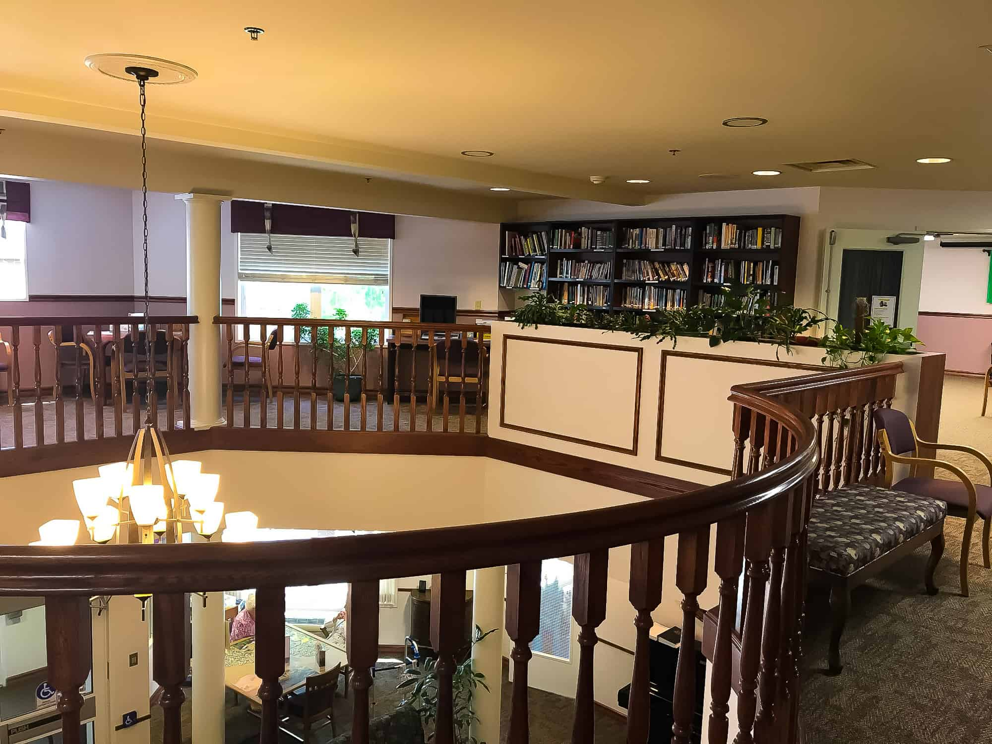 Upstairs with Book Shelves and Sitting Arrangement for Seniors at Mennonite Village